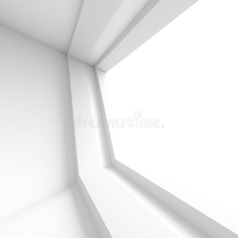 Conception intérieure futuriste Pièce vide blanche avec la fenêtre minimum illustration libre de droits