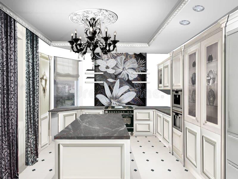 Conception intérieure Maison projet Cuisine classique de style illustration de vecteur