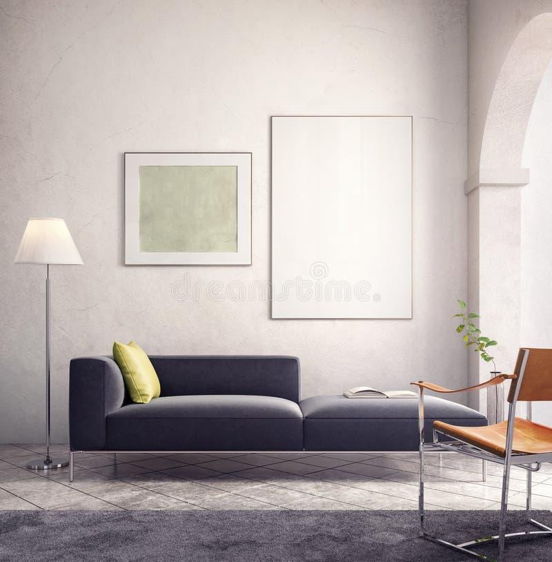 Conception intérieure moderne avec le cadre de tableau blanc vide illustration stock