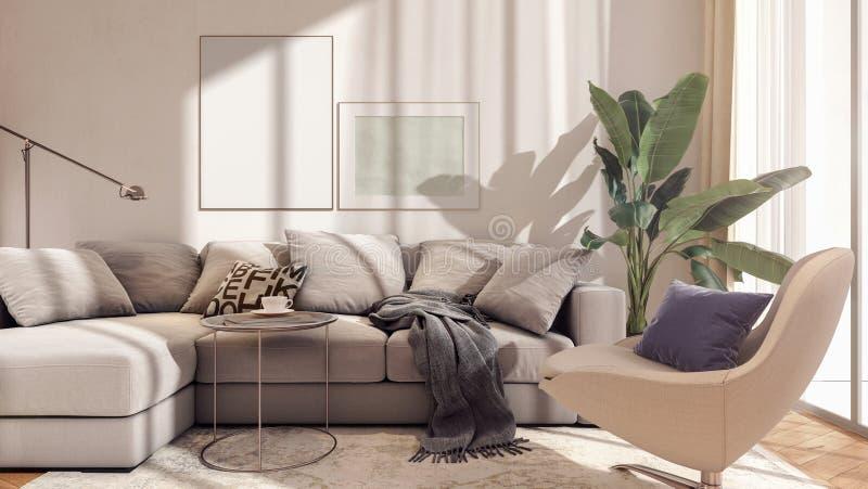 Conception intérieure moderne de salon avec le cadre de tableau de maquette illustration de vecteur