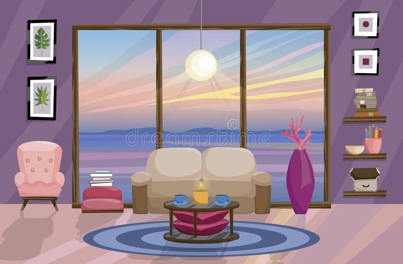 Conception intérieure plate, paysage avec le beau coucher du soleil en dehors de la fenêtre Conception de salon illustration libre de droits