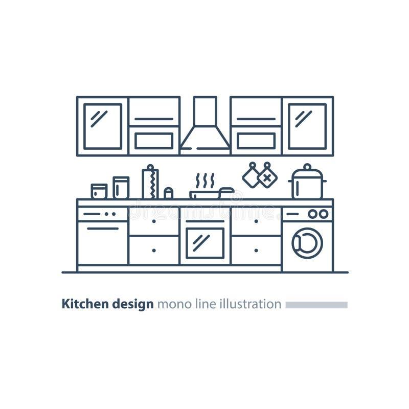 Conception int?rieure de cuisine, ensemble de meubles, plan de disposition illustration de vecteur