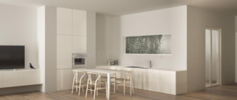 Conception int?rieure de fond de tache floue, cuisine blanche minimaliste avec le plancher de table de salle ? manger et de parqu illustration libre de droits