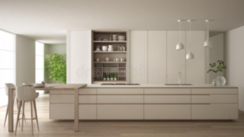 Conception int?rieure de fond de tache floue, cuisine minimaliste blanche en appartement ?cologique, ?le, table, tabourets et arm illustration stock