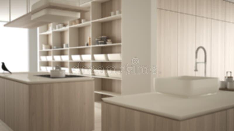 Conception int?rieure de fond de tache floue, fraise-m?re ch?re de luxe minimaliste de cuisine, d'?le, d'?vier et de gaz, l'espac illustration libre de droits