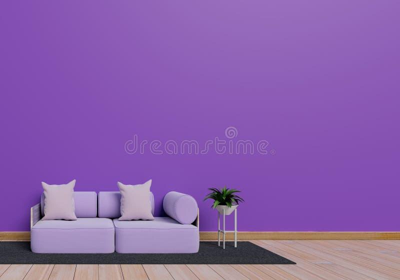 Conception int?rieure moderne de salon pourpre avec le pot de sofa et d'usine sur le plancher en bois brillant brun ?l?ment gris  illustration de vecteur