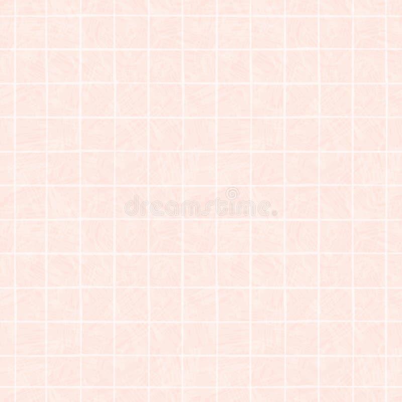 Conception irrégulière tirée par la main blanche de grille Modèle géométrique sans couture sur la belle couleur laver le fond ros illustration de vecteur
