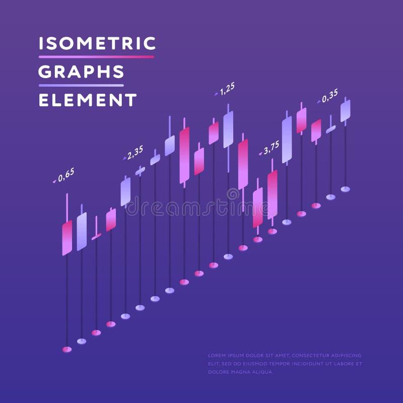 Conception isométrique de représentation graphique de l'information illustration de vecteur