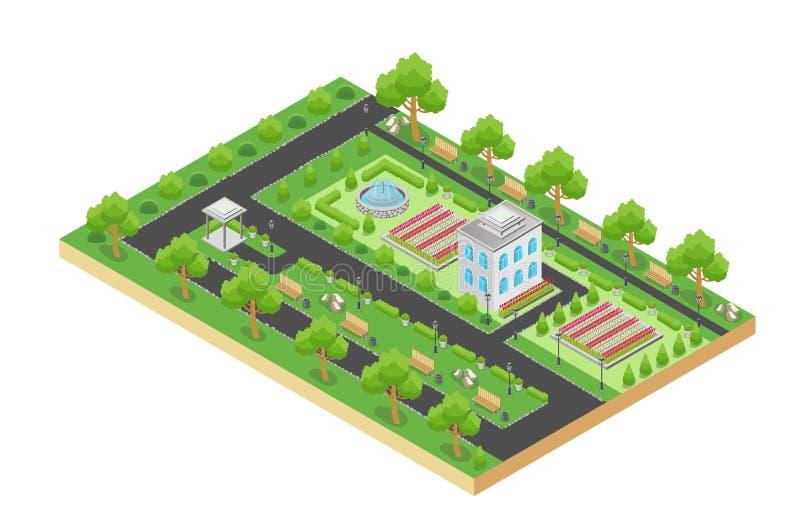 Conception isométrique de vecteur de parc vert de ville avec l'aire de loisirs et d'arbres d'isolement sur le fond blanc illustration libre de droits