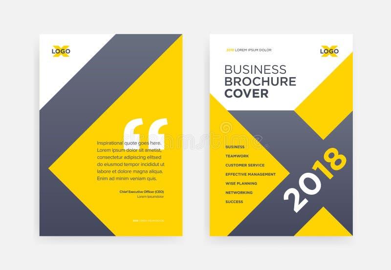 Conception jaune de couverture de brochure avec le fond géométrique de forme de X - illustration stock