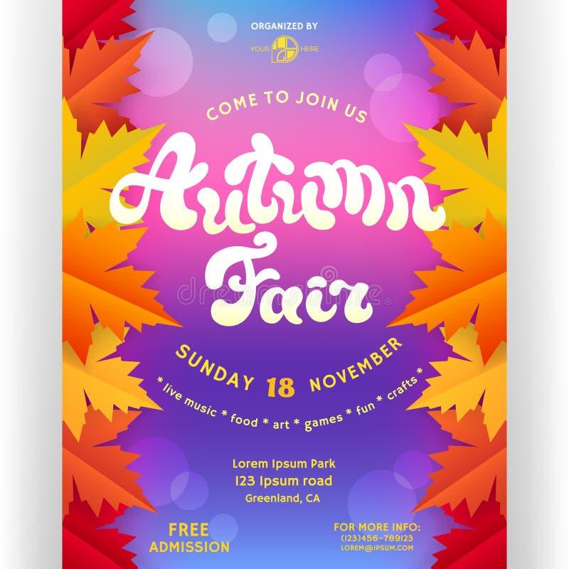 Conception juste d'affiche d'automne avec le texte adapté aux besoins du client et les feuilles abstraites d'érable illustration de vecteur