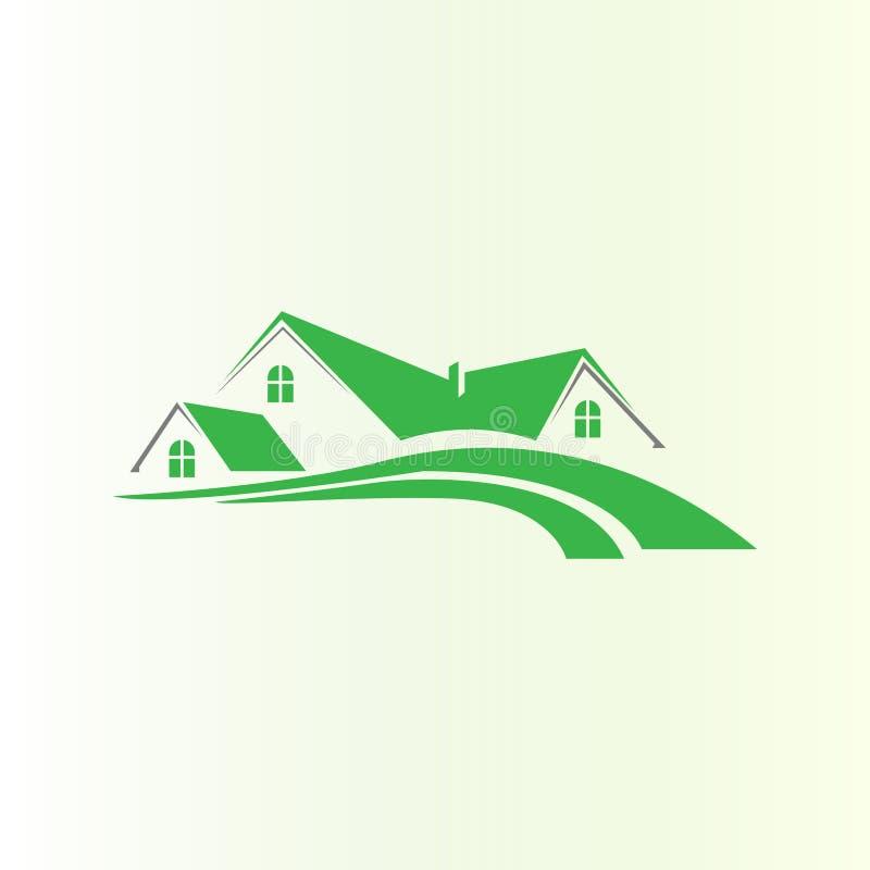 Conception ? la maison verte de logo Logo de Chambre illustration de vecteur