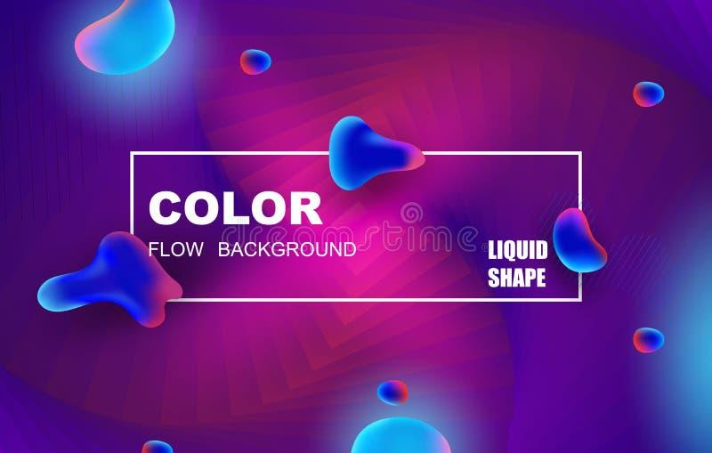 Conception liquide de fond de couleur Le gradient liquide forme la composition Affiches futuristes de conception illustration stock