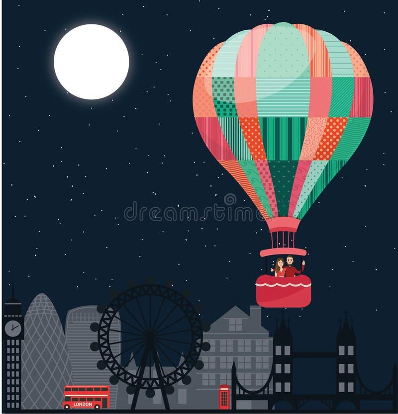 conception-Londres Ballon-air-couple-doux-moment-mouche-ciel-nuit-plate image stock