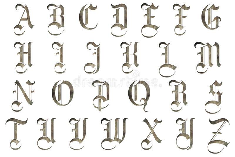 Conception médiévale d'alphabet de Scrapbooking illustration de vecteur