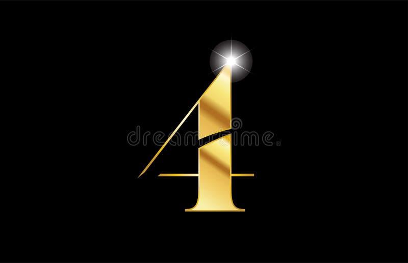 conception métallique d'icône de logo en métal d'or de l'or quatre du numéro 4 illustration stock