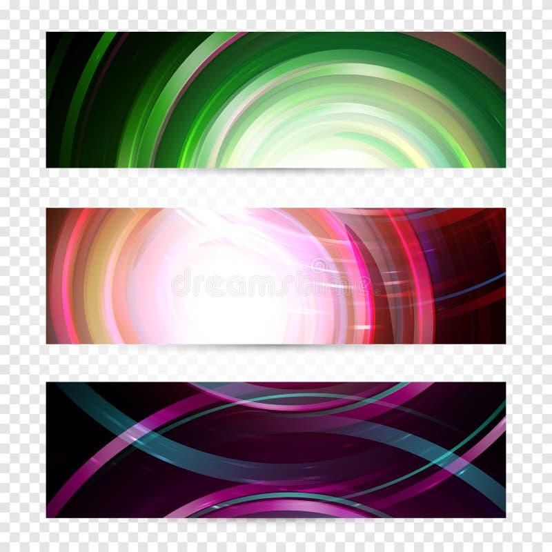 Conception magique de bannières de galaxie Fond en spirale de Web de vecteur d'espace Descripteur abstrait d'affaires Disposition illustration libre de droits