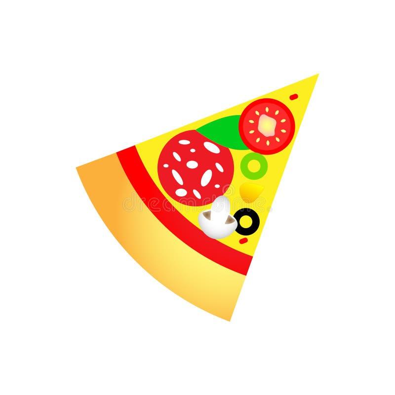 Conception magnifique du morceau de pizza chaud délicieux avec de divers ingrédients illustration libre de droits