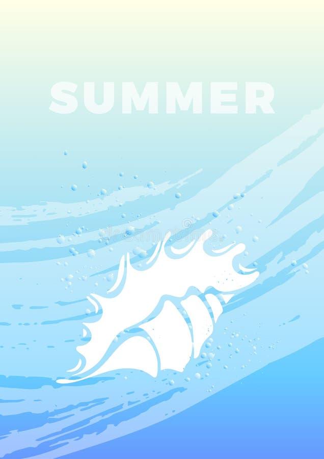 Conception marine avec le coquillage, vague, ciel bleu illustration stock