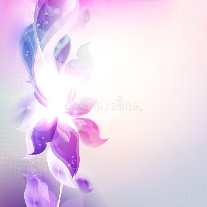 Conception mauve-clair avec les silhouettes abstraites des feuilles et des fleurs illustration stock