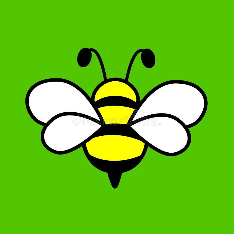 Conception merveilleuse de belle abeille sur un fond vert illustration libre de droits