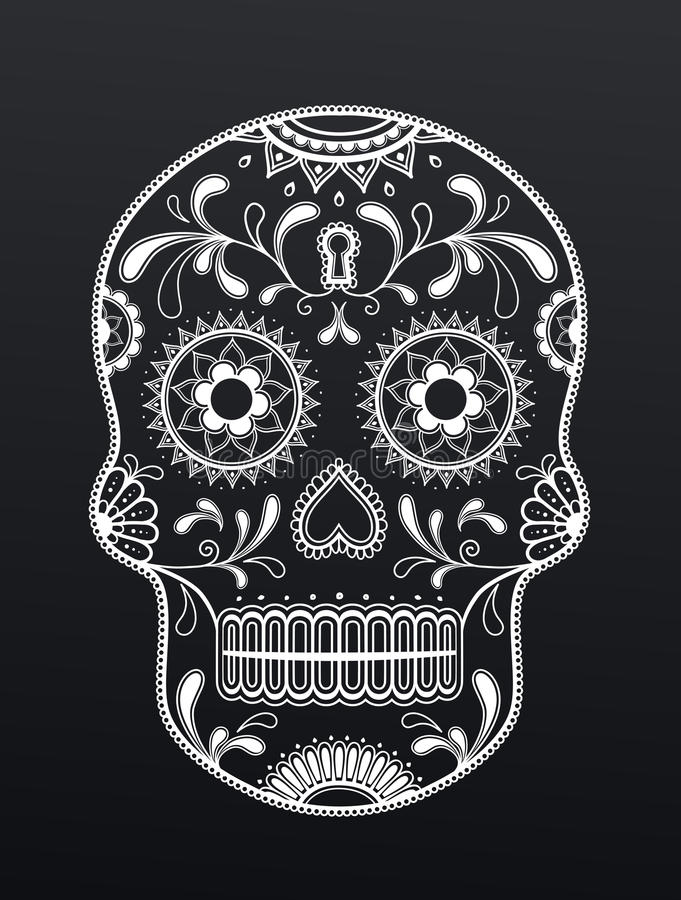 Conception mexicaine artistique de crâne illustration libre de droits