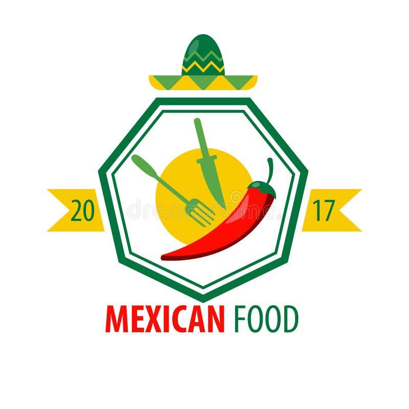 Conception mexicaine de logo de nourriture avec les couverts de cuisine et le piment rouge illustration libre de droits