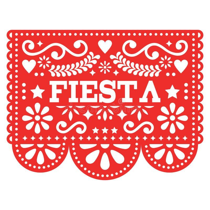 Conception mexicaine de Papel Picado de fiesta en rouge - le papier de guirlande de partie a coupé avec des fleurs et des formes  illustration libre de droits