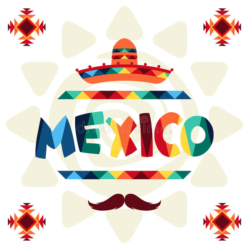 Conception mexicaine ethnique de fond dans le style indigène illustration libre de droits