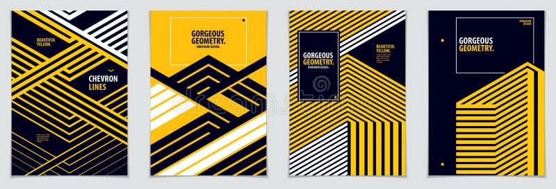 Conception minimale de couvertures Collection abstraite de milieux de mod?les g?om?triques r?gl?s de vecteur Calibres de concepti illustration de vecteur