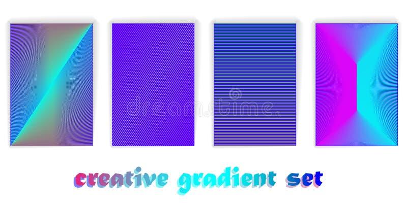 Conception minimale de couvertures de vecteur Gradients tramés frais Futur calibre d'affiche Rayures de gradient illusion illustration stock