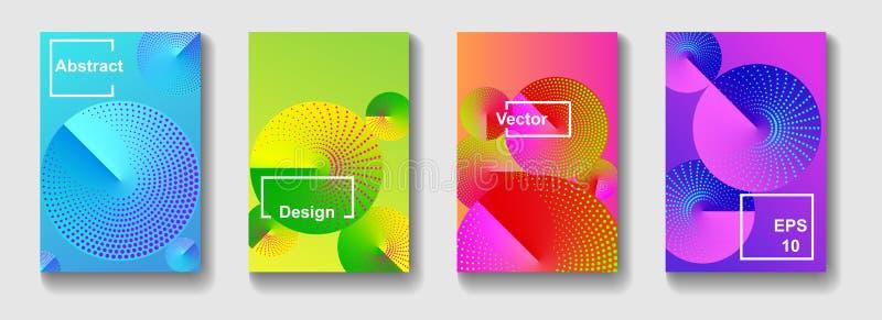 Conception minimale de couvertures de vecteur Le gradient rond forme la composition Lignes tramées de couleur illustration de vecteur