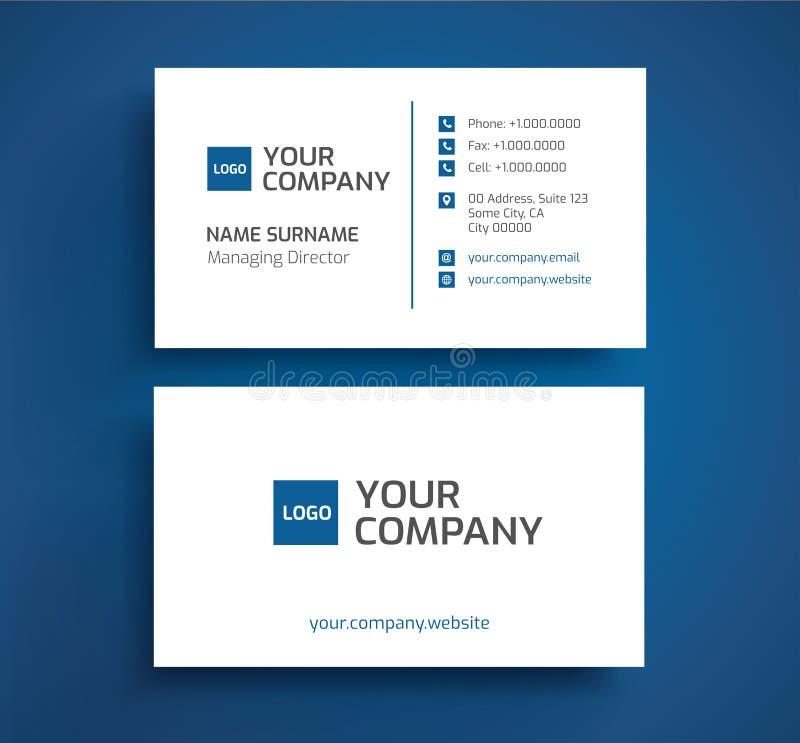 Conception minimaliste de couleur bleue et blanche de carte de visite professionnelle de visite élégante - - illustration stock