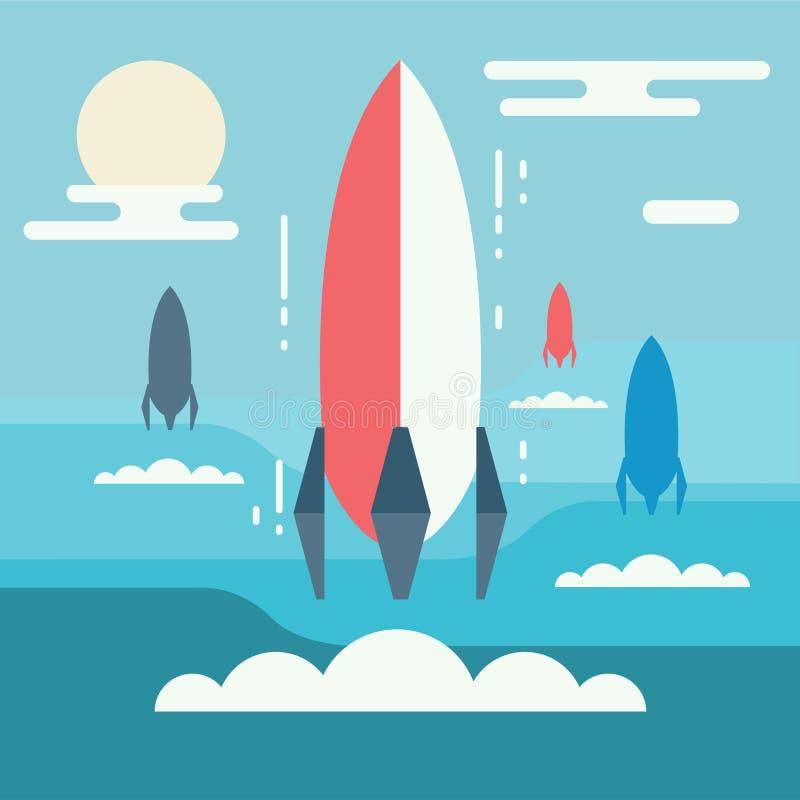 Conception minimalistic de concept de démarrage Lancement de Rocket comme métaphore o illustration de vecteur