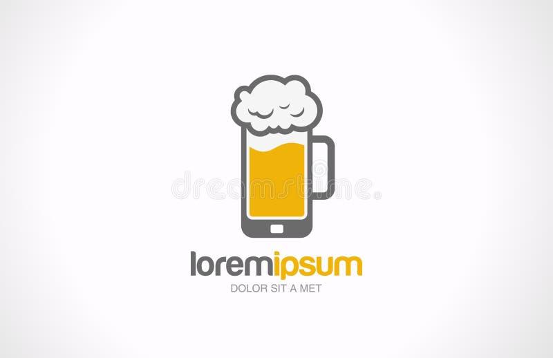 Conception mobile de logo de bar en verre de bière. Creati de café de barre illustration libre de droits