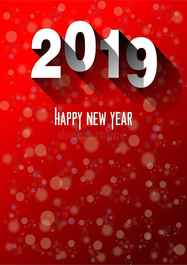 Conception moderne allusive à la célébration de la nouvelle année de 2019 illustration de vecteur