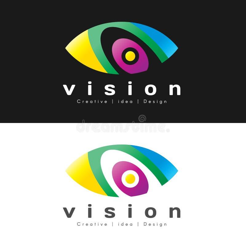 Conception moderne colorée de vecteur de signe de logo d'oeil de résumé illustration libre de droits