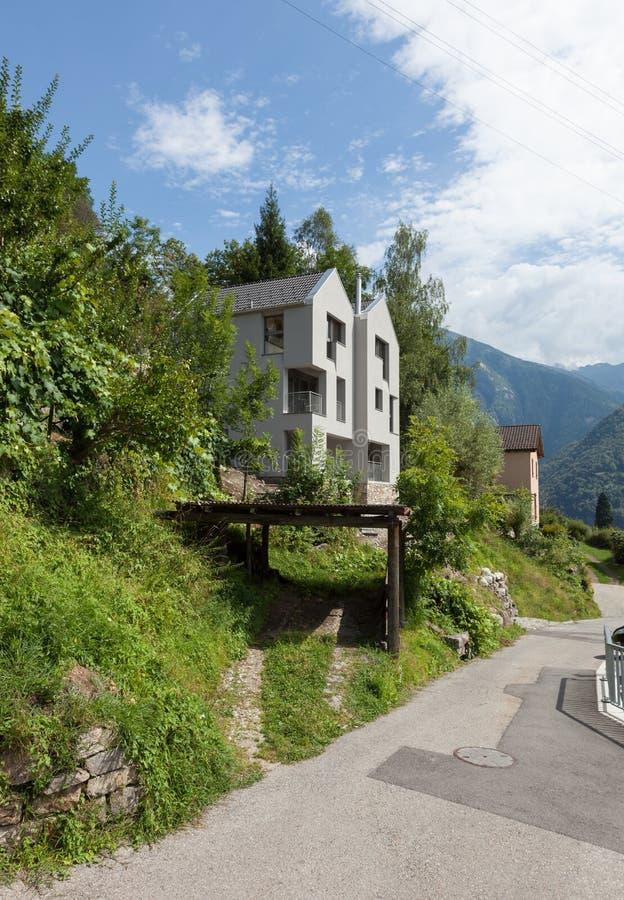 Conception moderne d'architecture, villa, scène de jour image stock