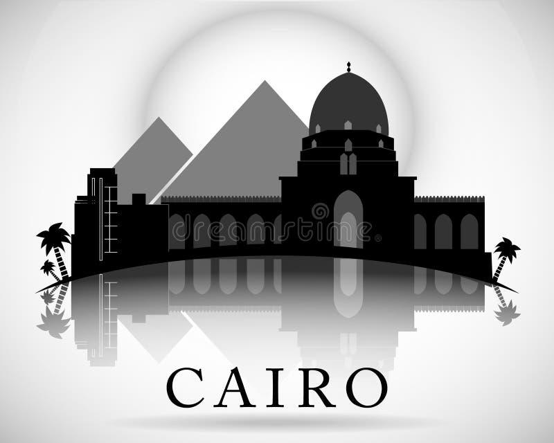 Conception moderne d'horizon de ville du Caire Égypte illustration de vecteur