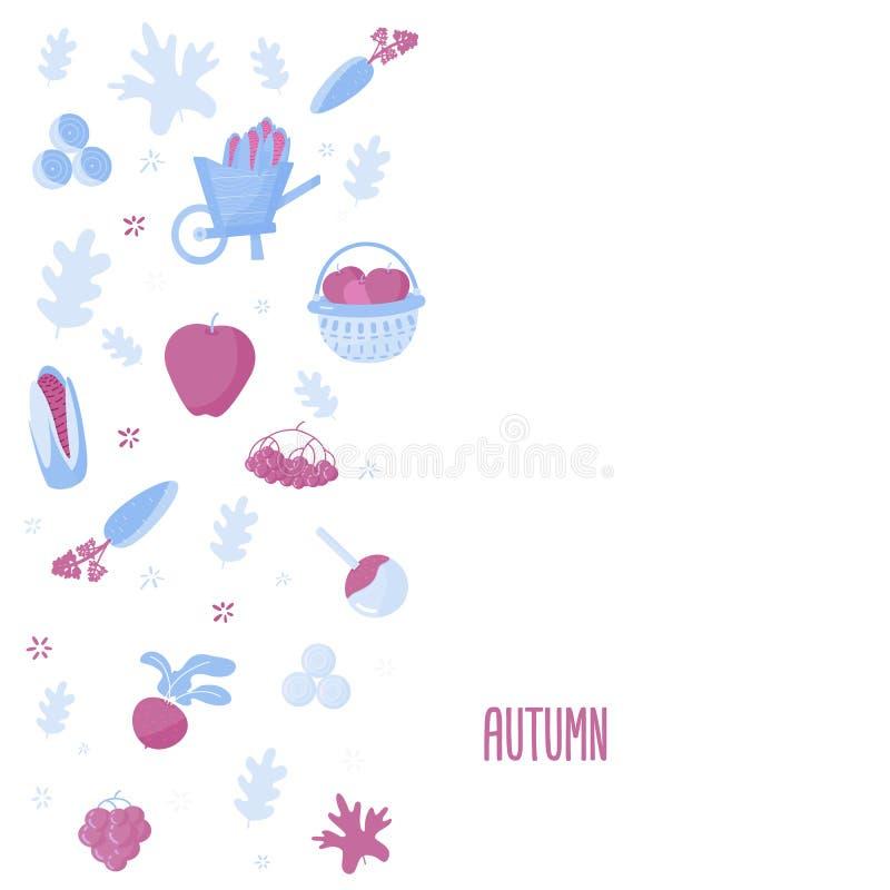 Conception moderne de bannière de récolte avec des objets d'automne Illustration de vecteur illustration de vecteur