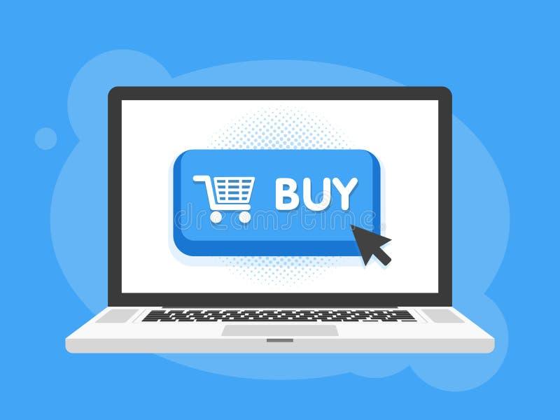 Conception moderne de bouton d'achat avec le symbole de clic de souris dans l'écran d'ordinateur portable d'ordinateur portable I illustration stock