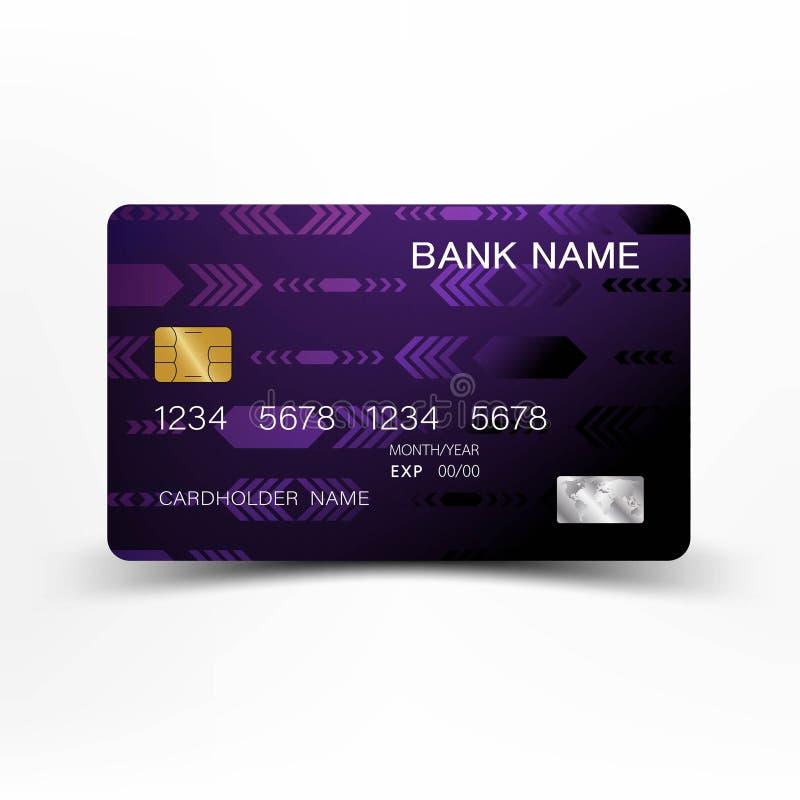 Conception moderne de calibre de carte de crédit Avec l'inspiration de la ligne résumé Couleur pourpre et noire sur l'illustratio illustration de vecteur