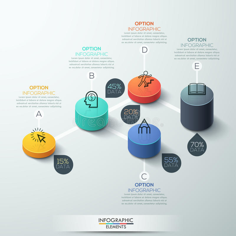 Conception moderne de cylindre de boîte de calibre d'Infographic illustration libre de droits