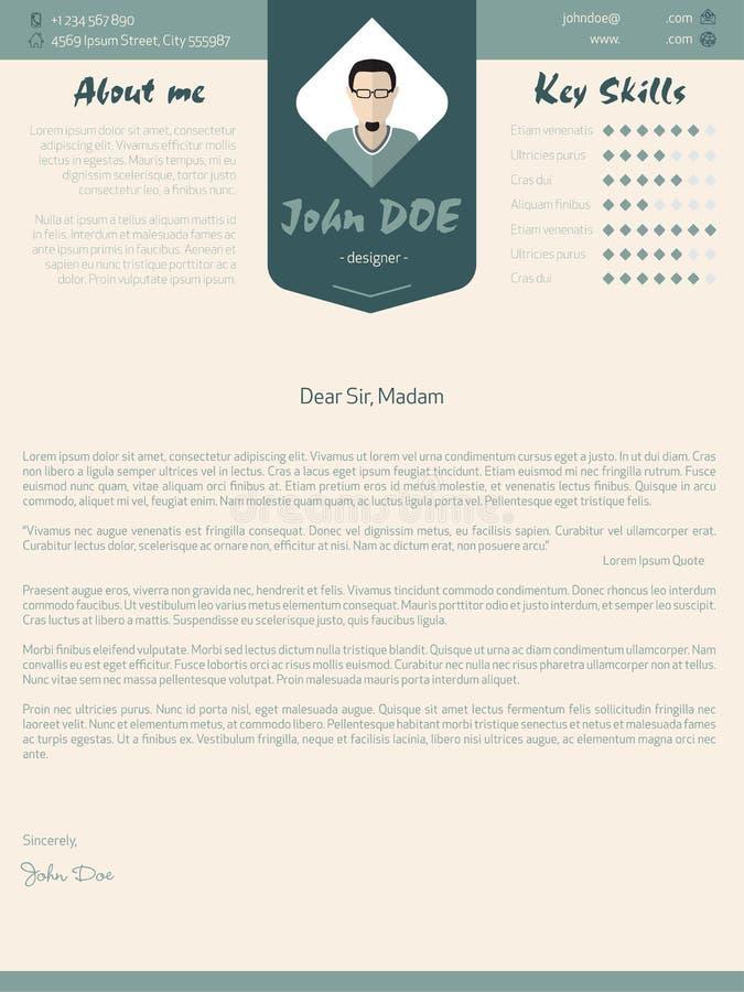 Conception moderne de lettre d'accompagnement avec des détails illustration stock