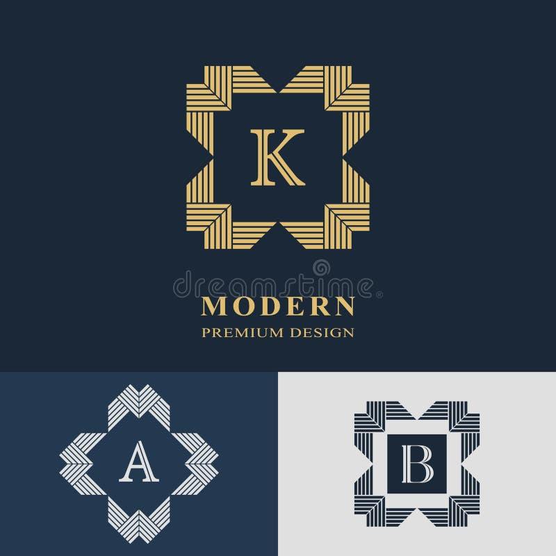 Conception moderne de logo Calibre linéaire géométrique de monogramme illustration libre de droits