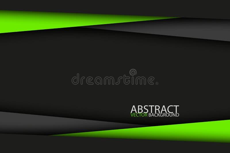 Conception moderne noire et verte, fond en format large abstrait illustration stock