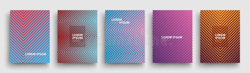 Conception moderne simple de calibre de couvertures Ensemble de gradients tramés géométriques minimaux pour la présentation, maga illustration stock