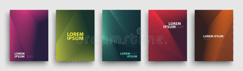 Conception moderne simple de calibre de couvertures Ensemble de gradients tramés géométriques minimaux pour la présentation, maga illustration de vecteur