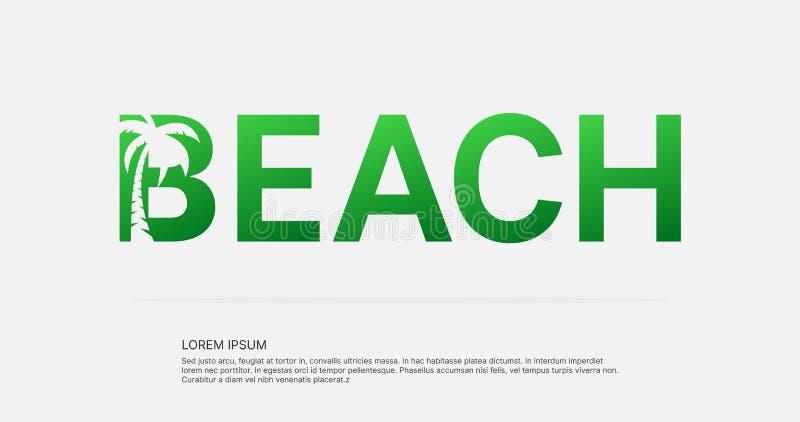 Conception négative de logo de l'espace des textes de plage illustration stock