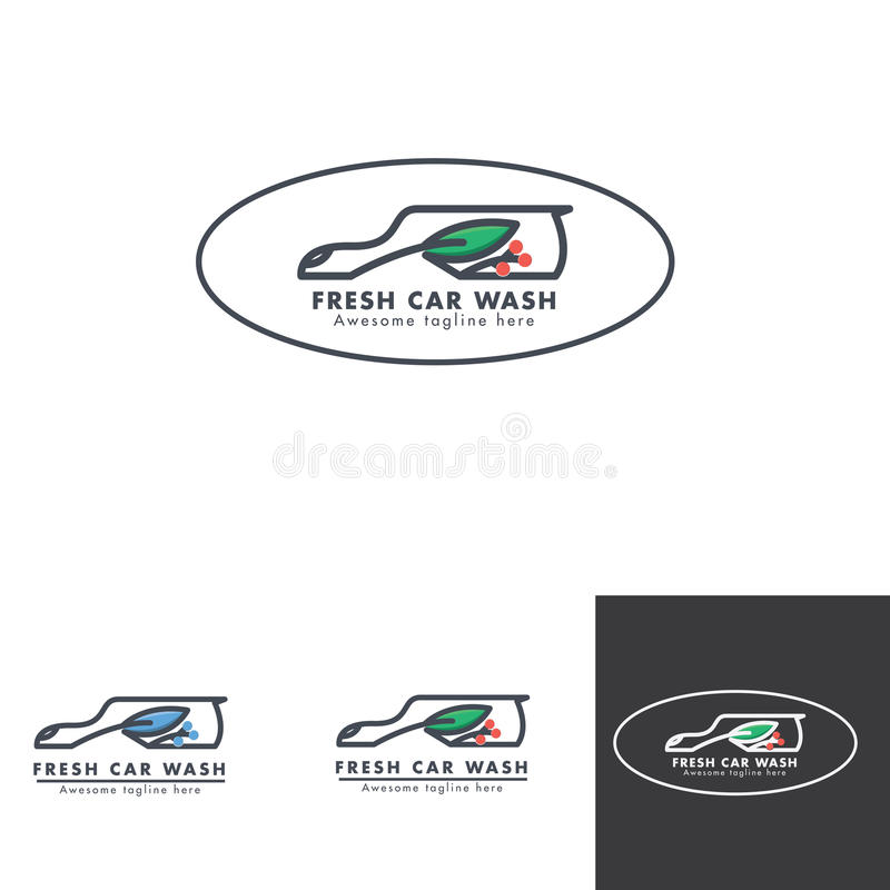 Conception naturelle de logo de service de station de lavage illustration de vecteur